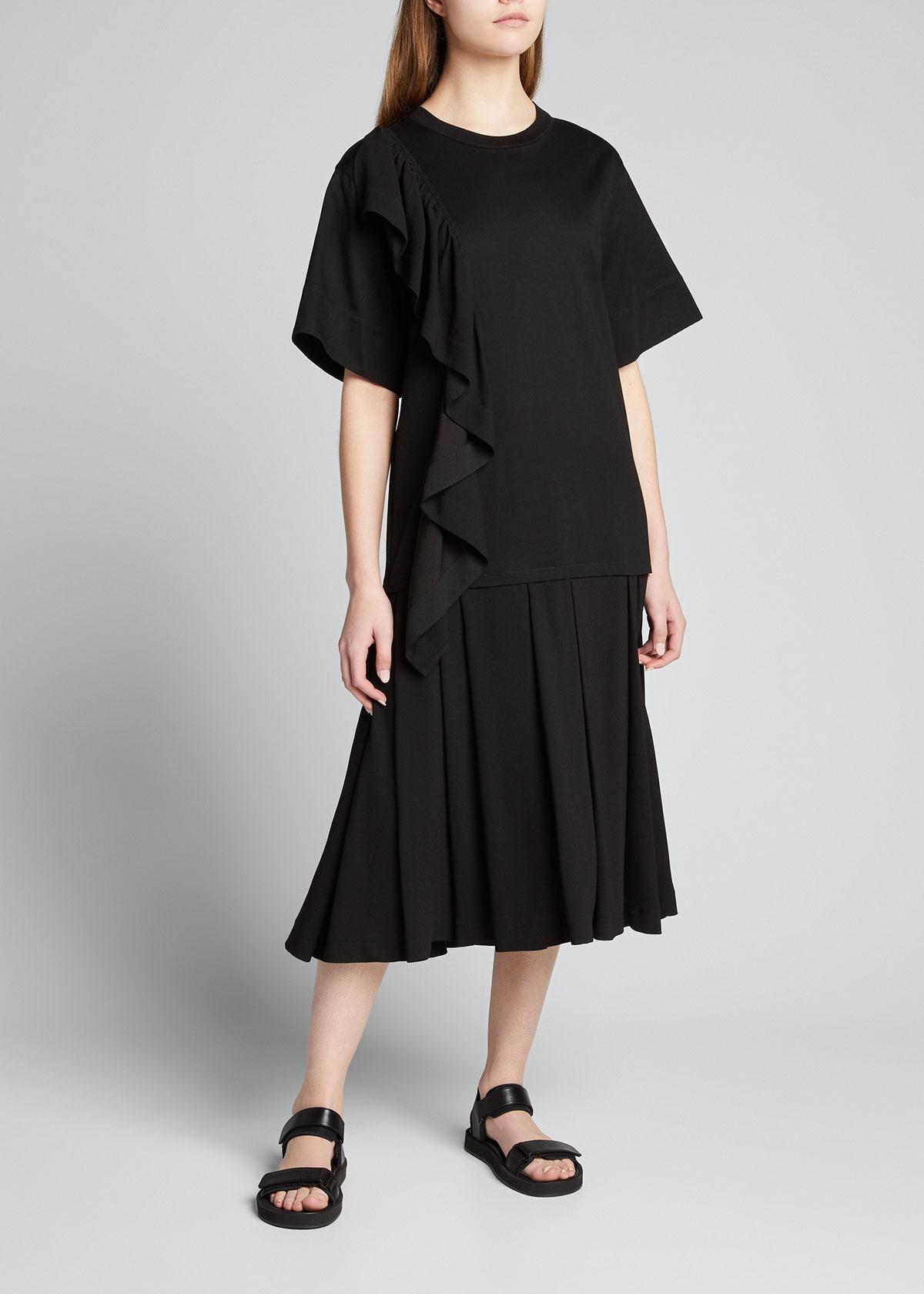 3.1 Phillip Lim RUFFLE COMBO PLEATED T-SHIRT DRESS