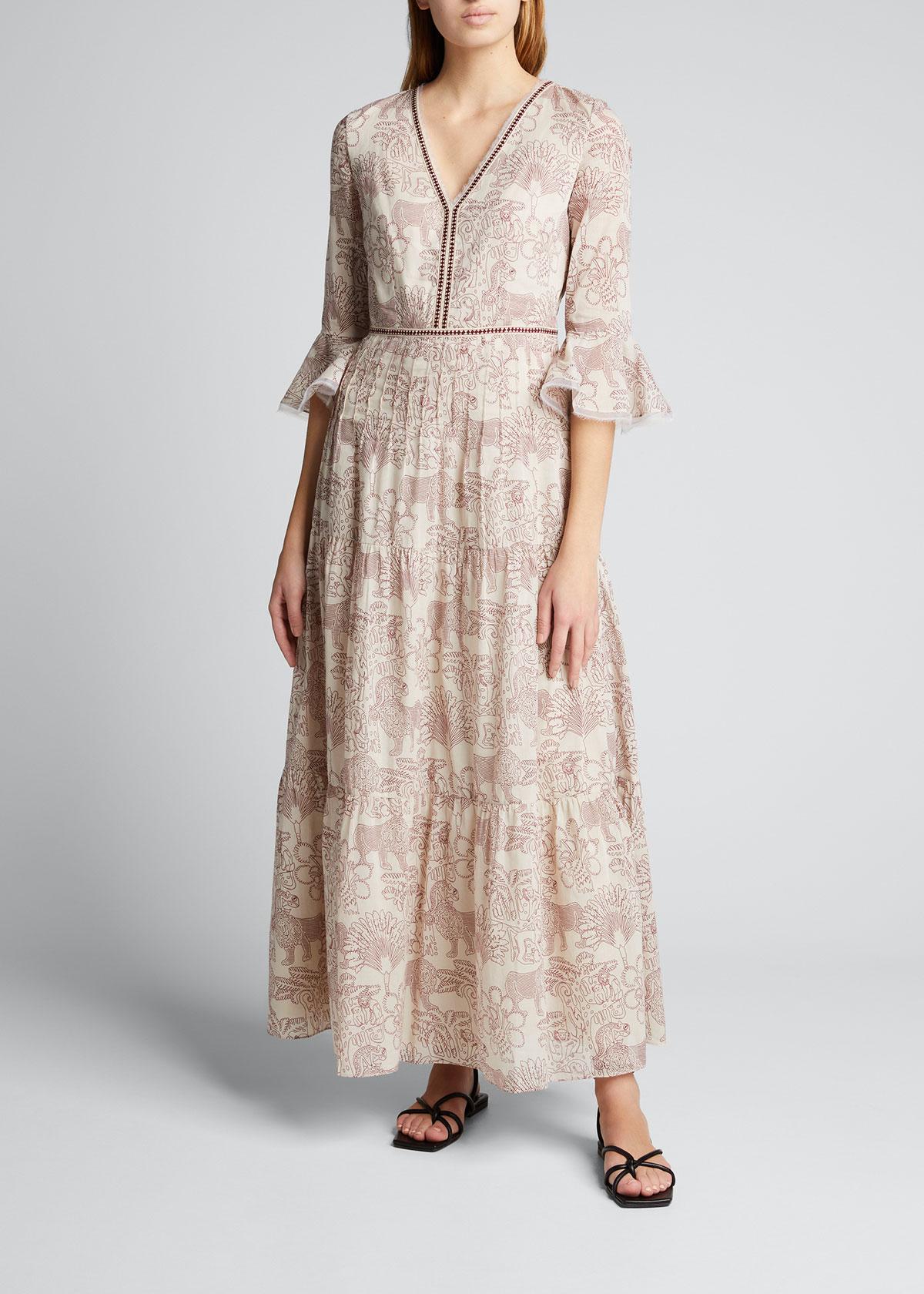 Le Sirenuse Clothing BELLA LION & MONKEY TIERED DRESS