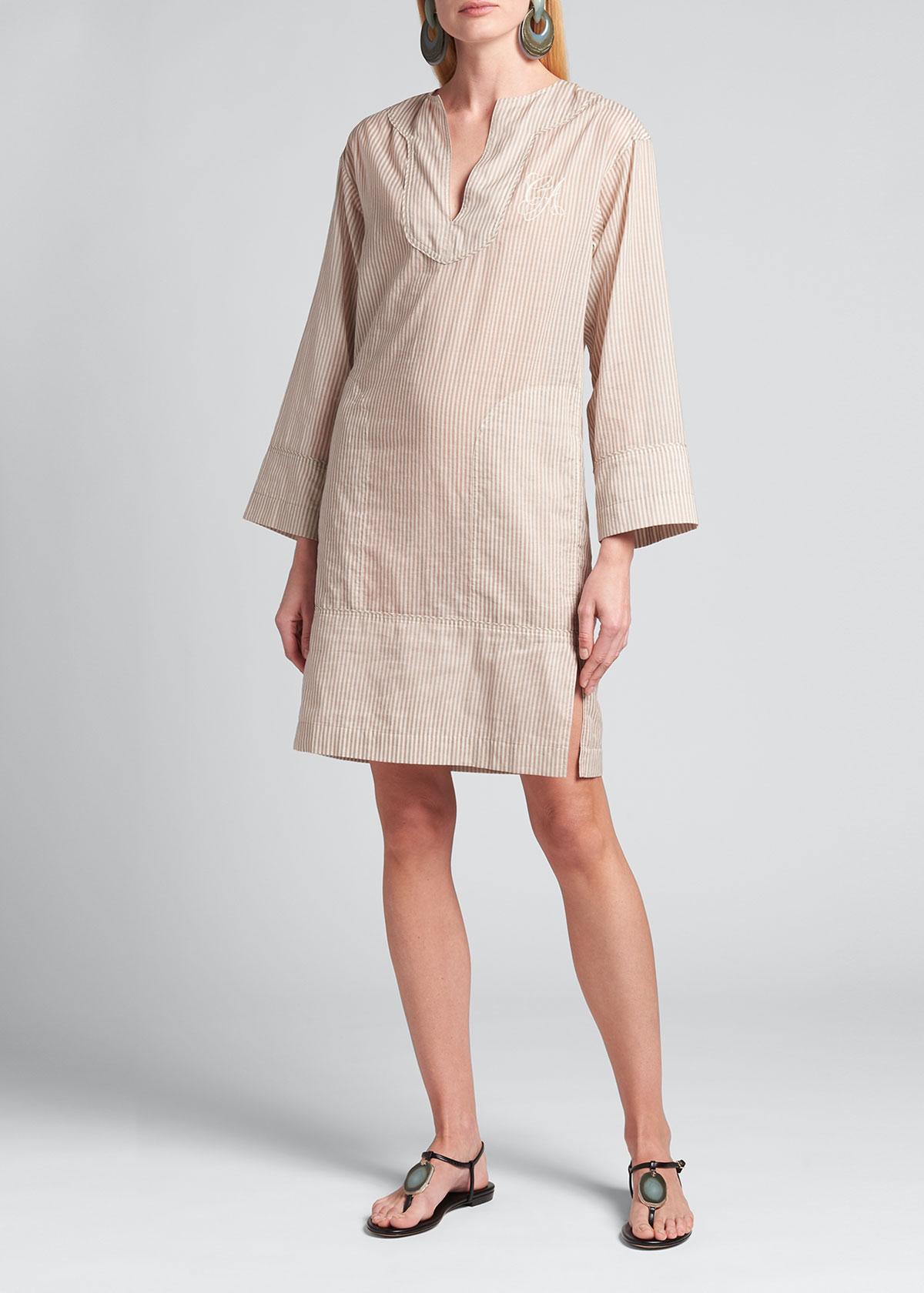 Giorgio Armani EMBROIDERED STRIPE SHIFT DRESS