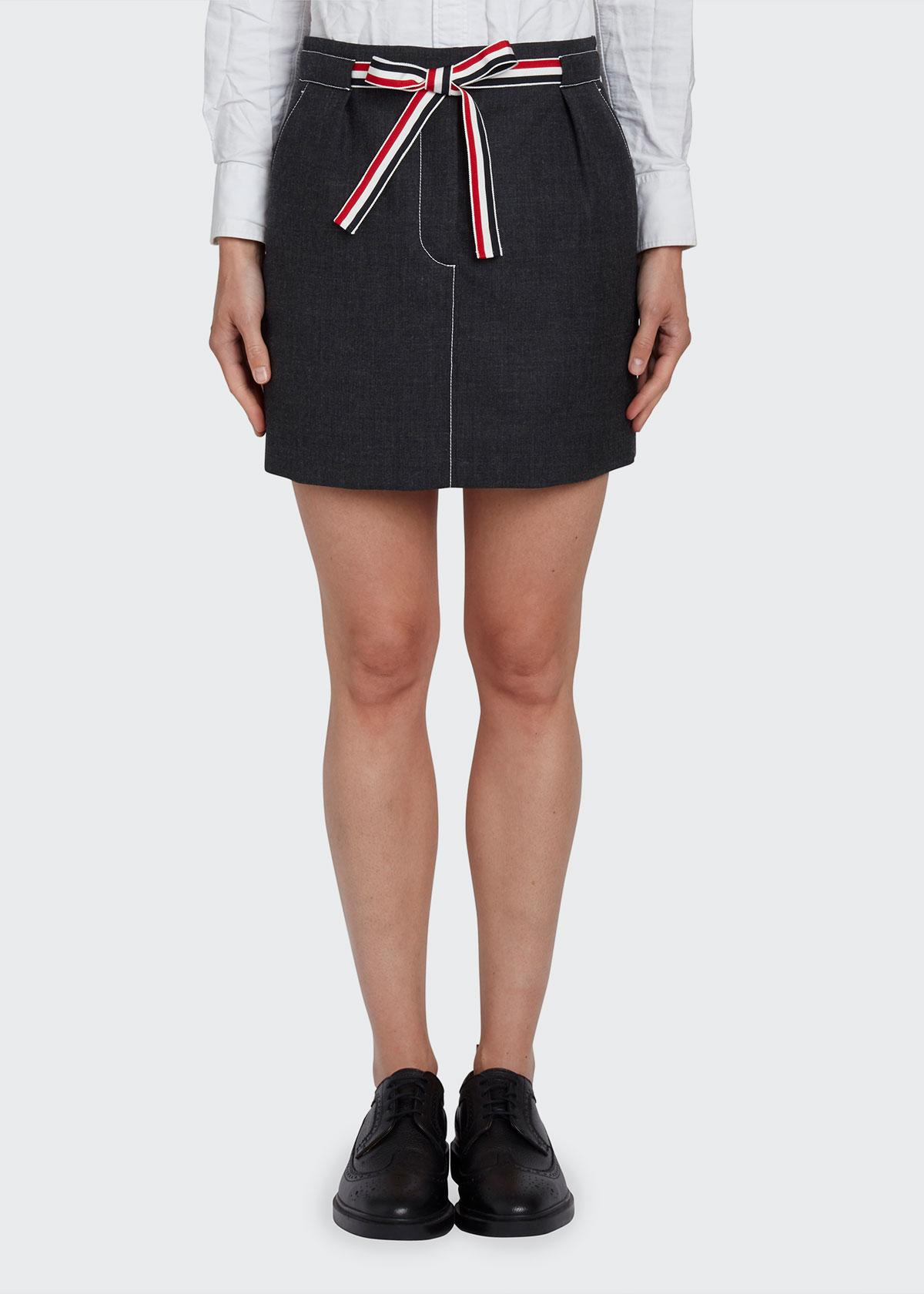 Thom Browne Skirts SELF-TIE MINI WOOL SKIRT