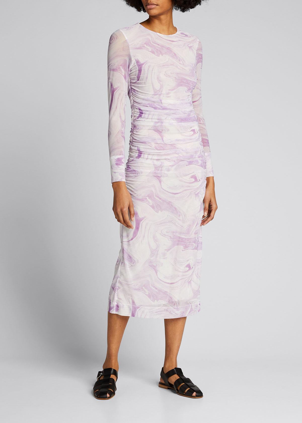 Ganni Dresses MARBLE-PRINT MESH RUSHED MIDI DRESS
