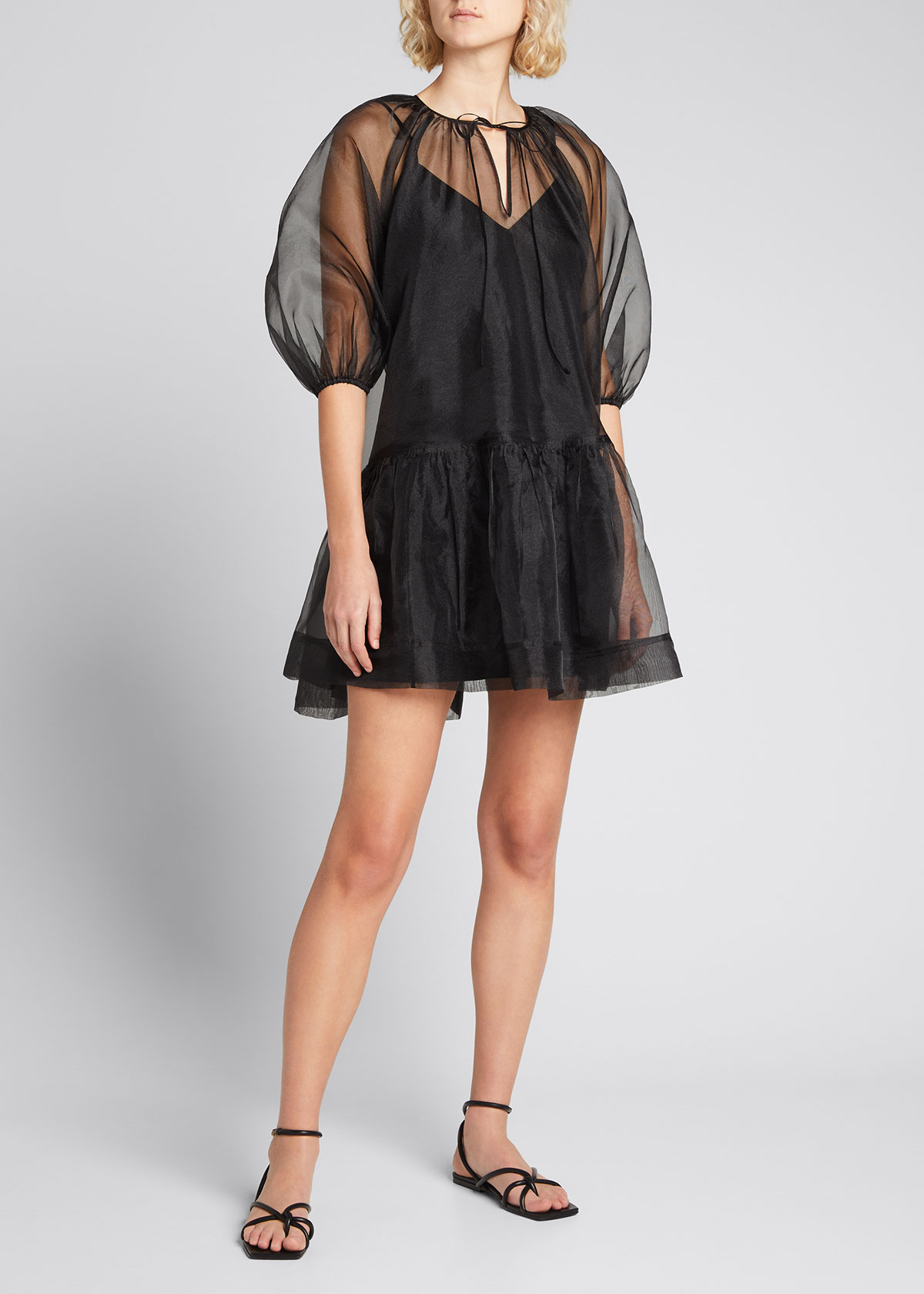 Jonathan Simkhai Mini dresses EVERLEE RECYCLED ORGANZA PUFF-SLEEVE DRESS