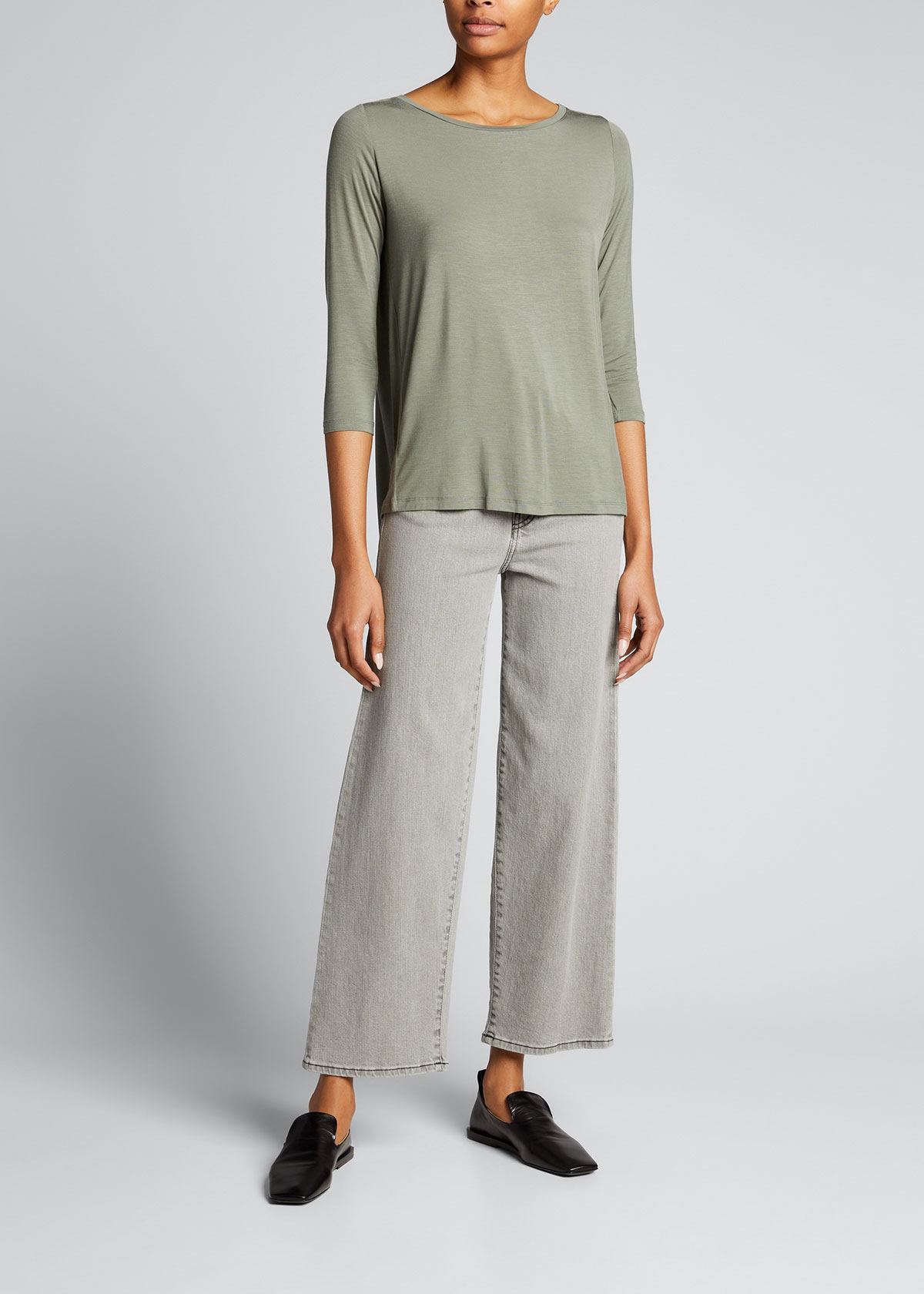 Majestic STRETCH VISCOSE RELAXED 3/4-SLEEVE TOP