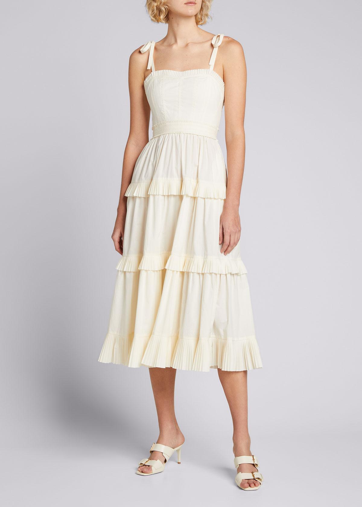 Ulla Johnson LUNE TIERED COTTON DRESS
