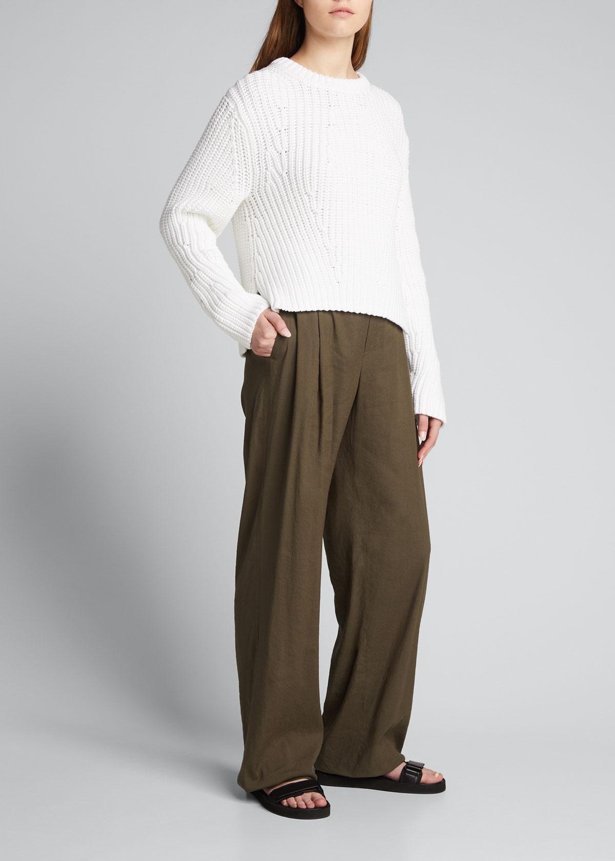 Vince Linens LINEN WIDE-LEG PULL-ON PANTS