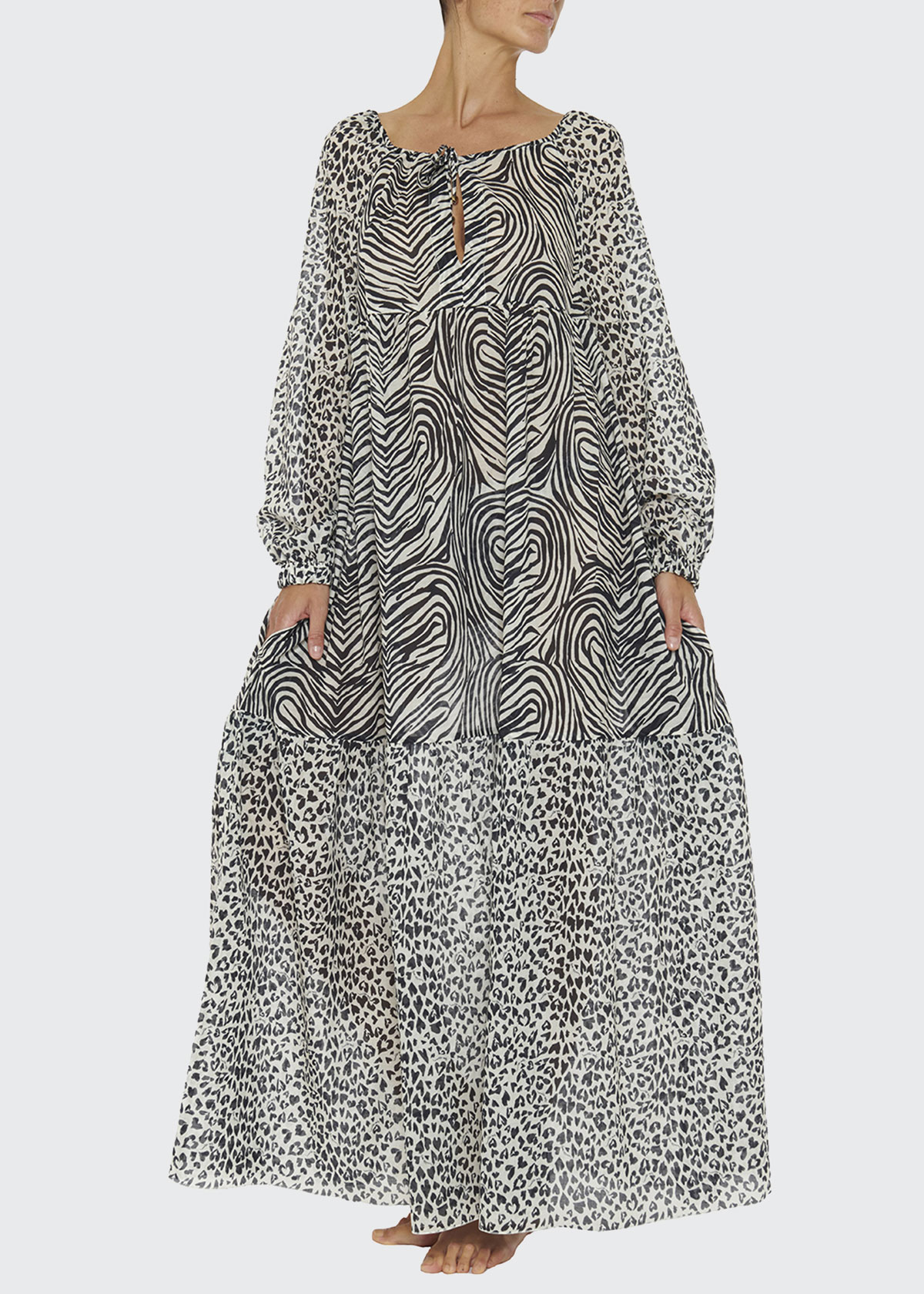Stella Mccartney ANIMAL-MIX-PRINT LONG DRESS