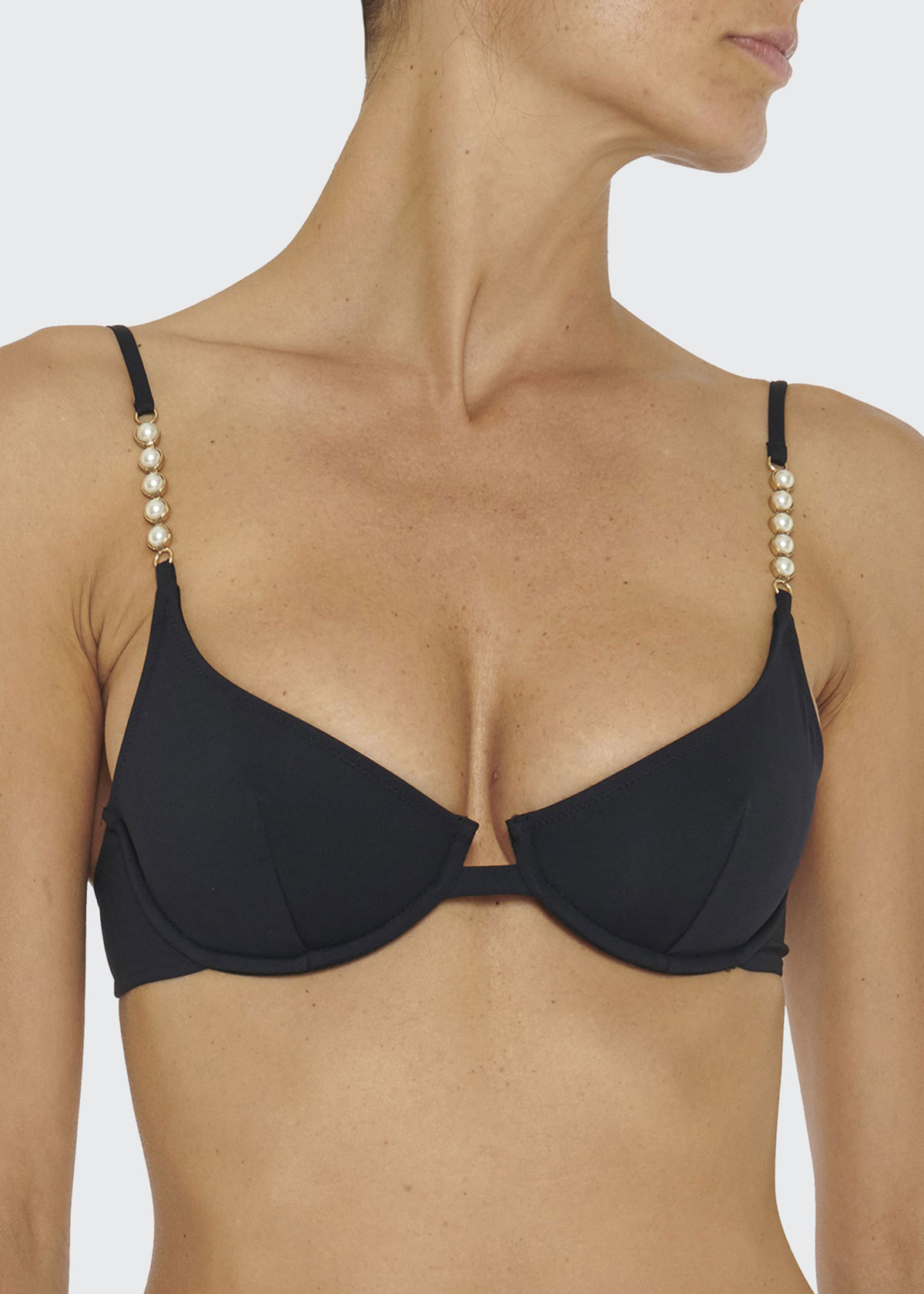 Stella Mccartney PEARL EMBELLISHED BALCONETTE BIKINI TOP