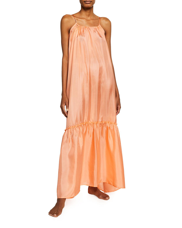 Pour Les Femmes LOW-BACK SILK HABUTAI RUFFLE DRESS