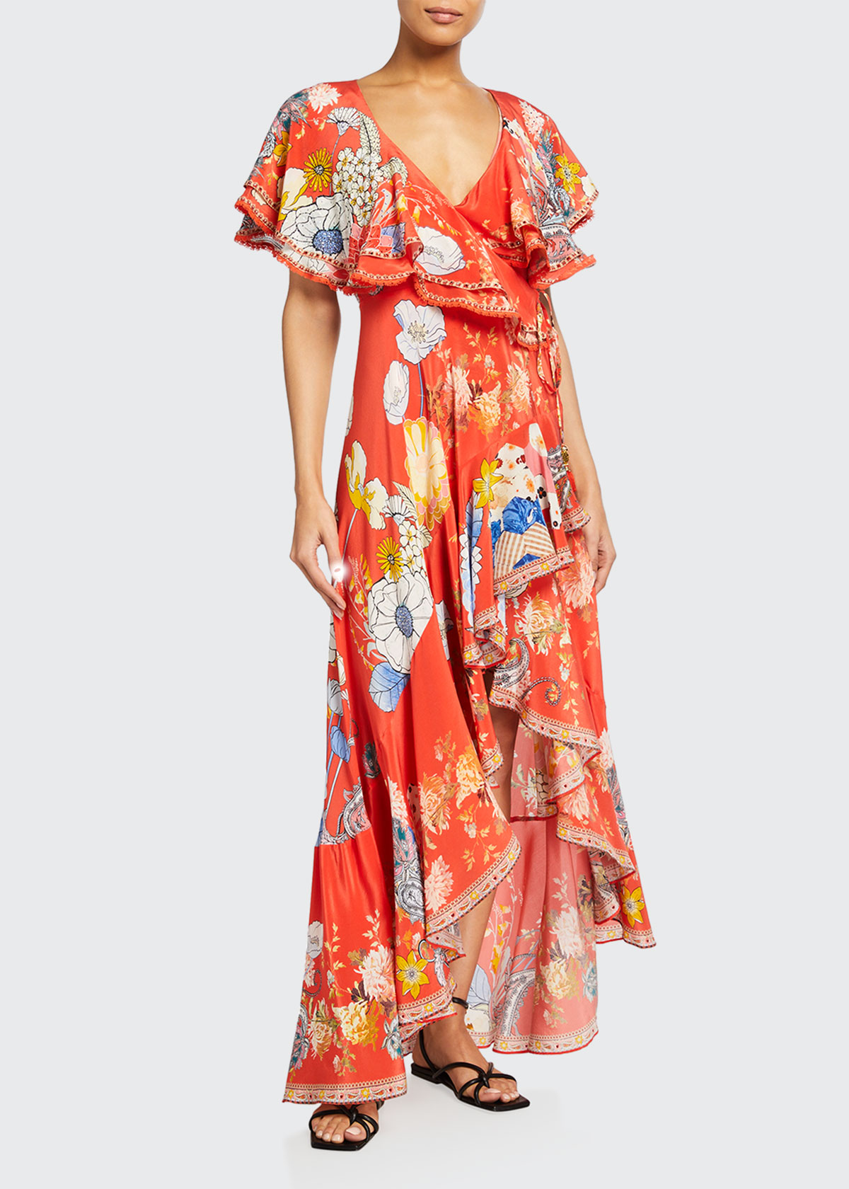 Camilla FRILL-SLEEVE LONG FLORAL WRAP DRESS