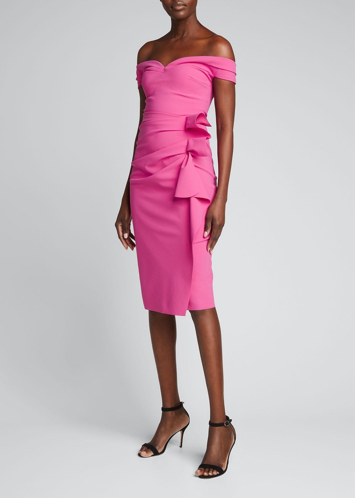 Chiara Boni La Petite Robe RADOSLAVA SIDE-DRAPED OFF-THE-SHOULDER DRESS