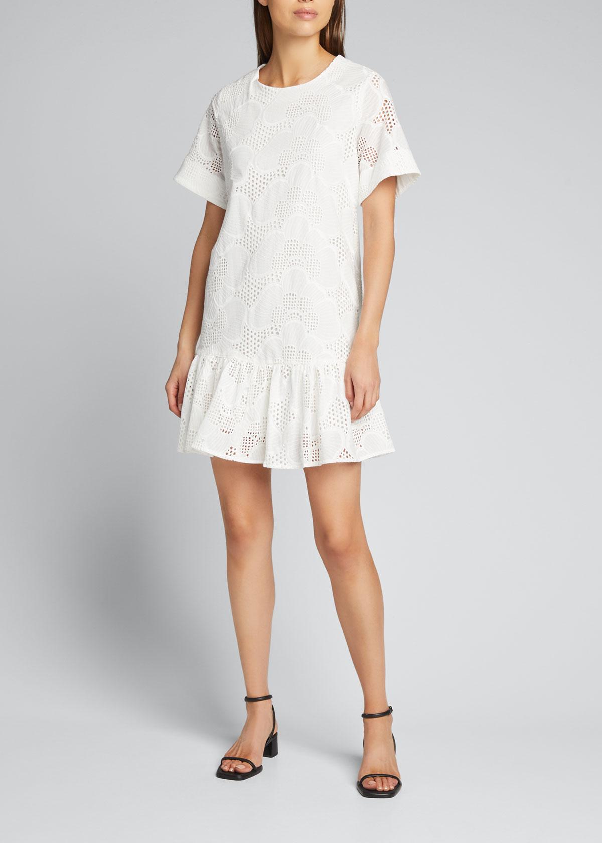 Milly Dresses BRYNN PIERES EYELET FLOUNCE DRESS