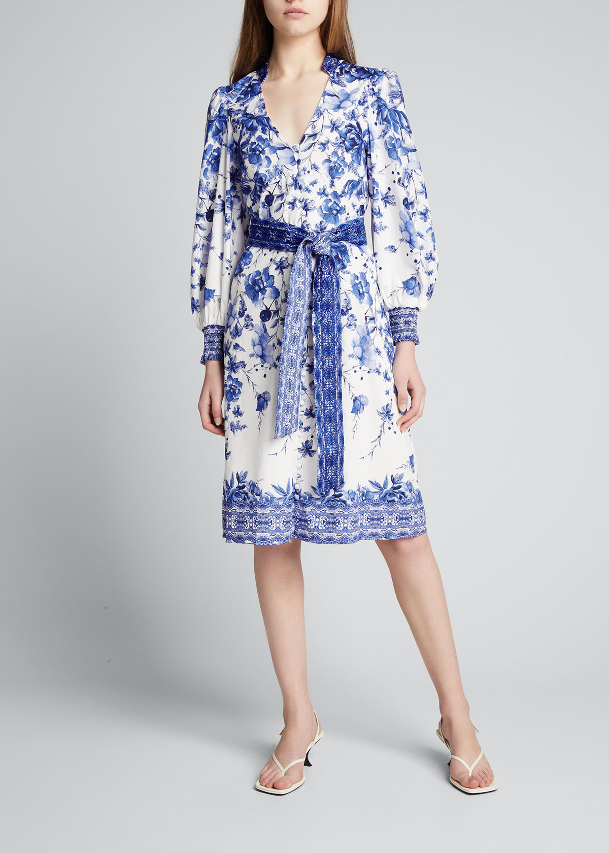 Alice And Olivia Midi dresses SHANLEY BUTTON-FRONT MIDI DRESS WITH WAIST TIES