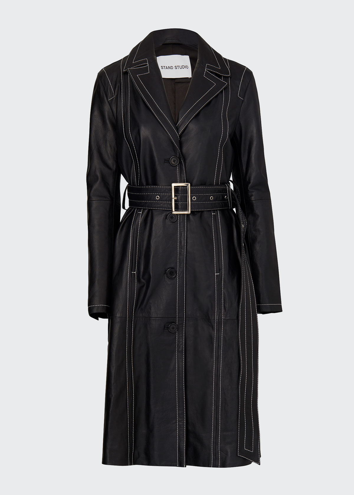 Stand Studio ALVIRA BELTED LEATHER COAT