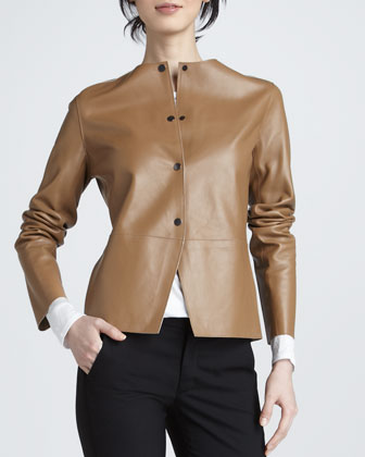 Snap-Front Leather Jacket