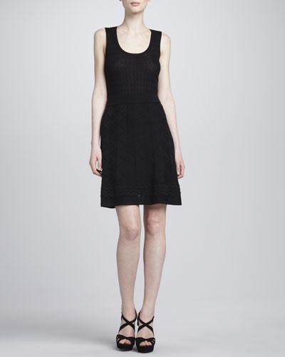 Zigzag-Knit A-line Skirt, Black
