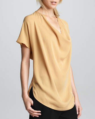 Silk Cowl-Neck Top