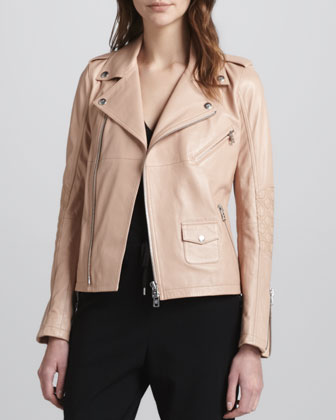 Zip-Front Leather Moto Jacket, Blush