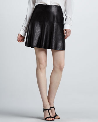 Flared Leather Skirt