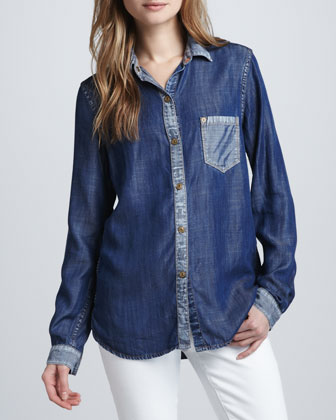 Colorblock Denim Shirt