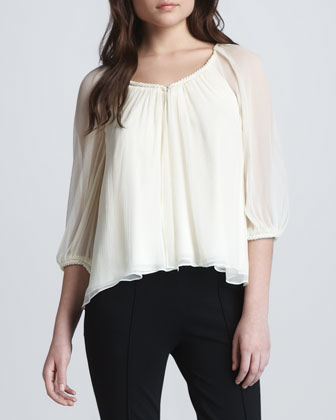 Fenobe Sheer-Sleeve Top