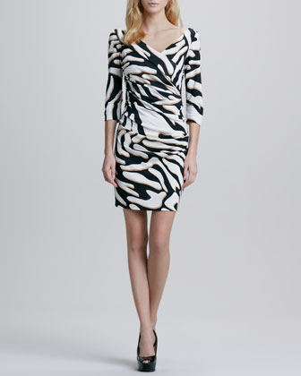 Bentley Zebra-Print Ruched Dress
