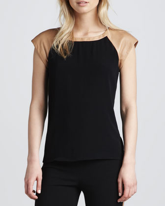 Valentine Leather-Shoulder Top