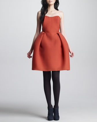 Wool Gazar Bustier Dress, Orange-Red