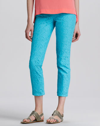Strolling Lace-Texture Slim Pants, Pond