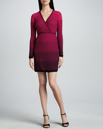 Two-Tone Gradient Knit Surplice Dress