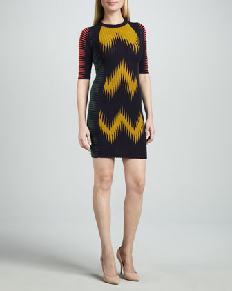 Half-Sleeve Zigzag Ikat Dress