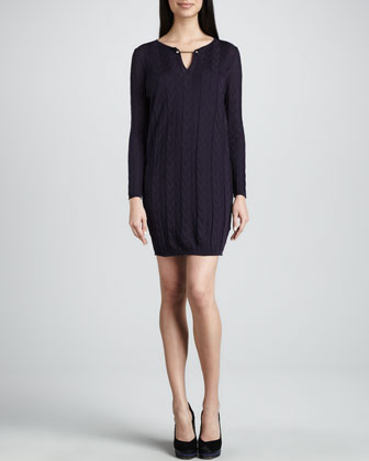 Zigzag V-Neck Knit Dress