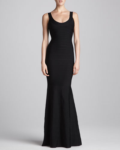 Scoop-Neck Bandage Mermaid Gown