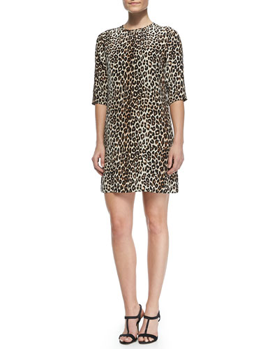 Aubrey Silk Animal-Print Dress