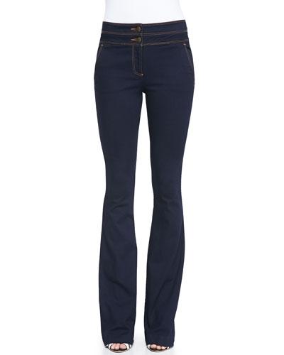 Flare-Leg Dark Stretch Jeans