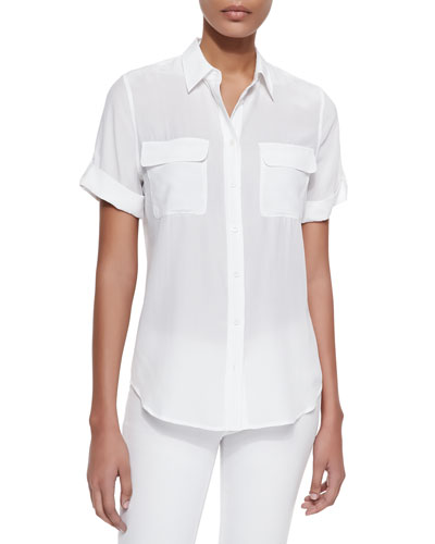 Short-Sleeve Slim Signature Silk Blouse, Bright White