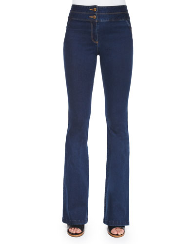 High-Waist Flared Denim Pants