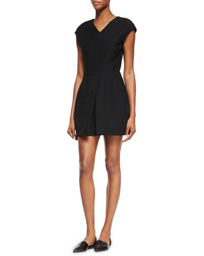 Inverted Front-Pleat Dress, Black