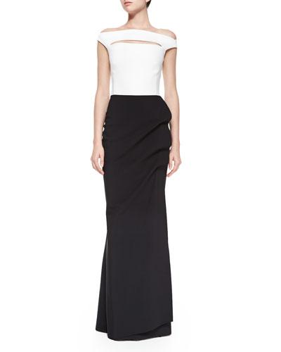 Melania Off-the-Shoulder Colorblock Ruched Long Dress