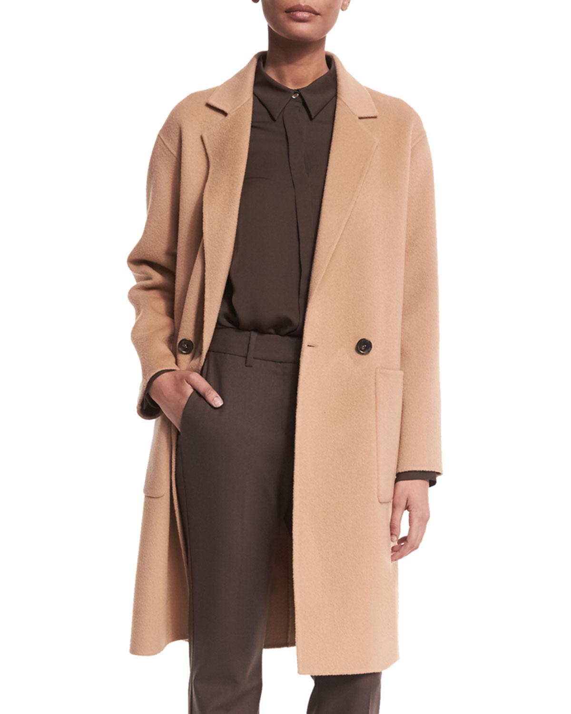 Cerlita Double-Face Wool/Cashmere Coat, Camel