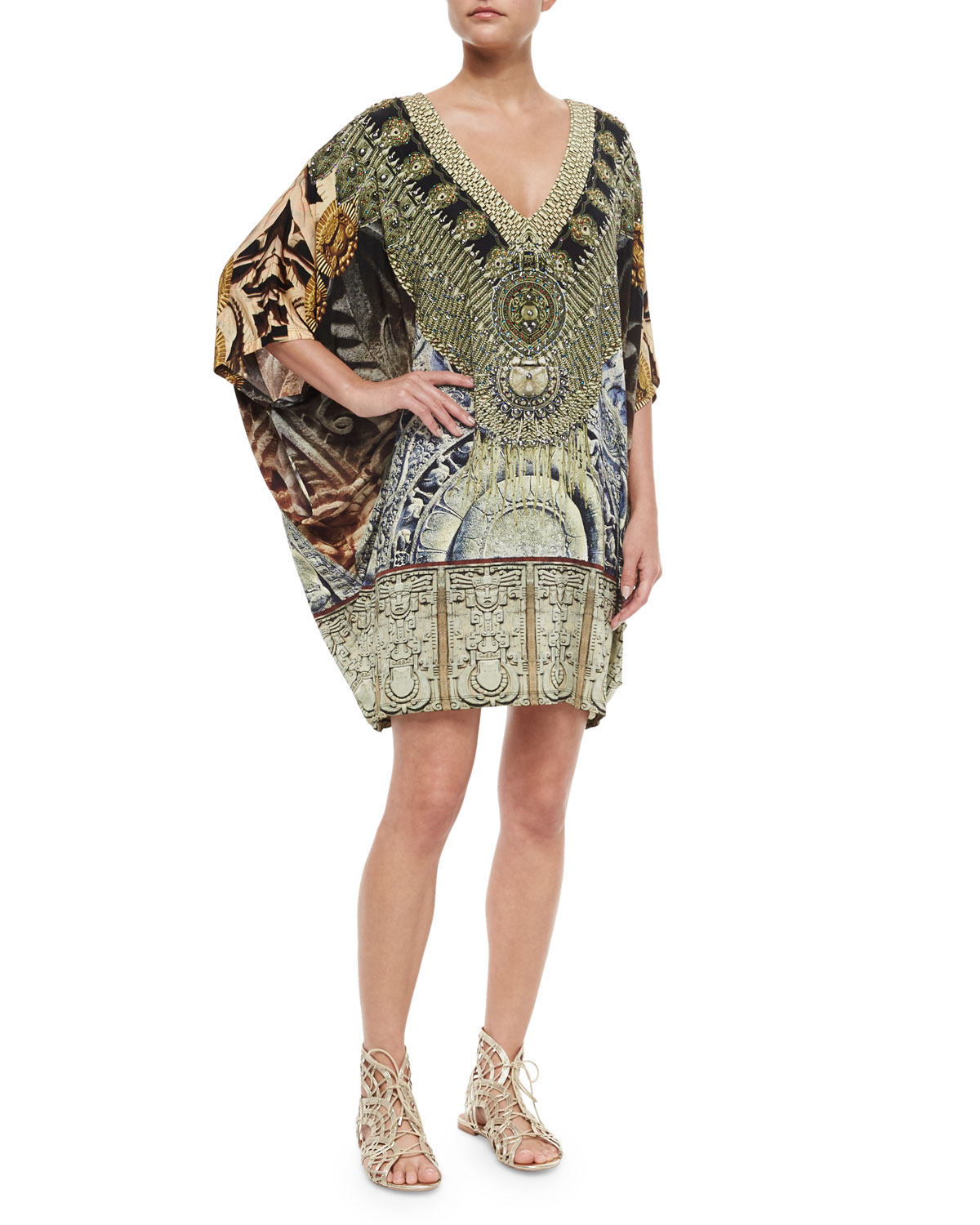 Beaded Batwing-Sleeve Dress