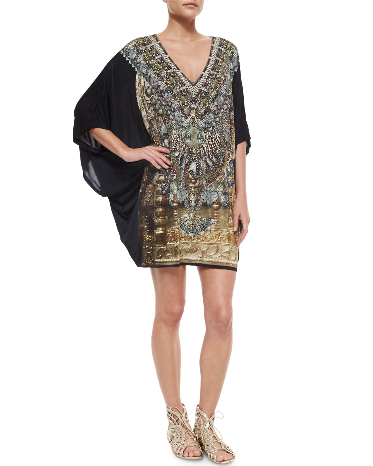 Printed Beaded Batwing-Sleeve Dress