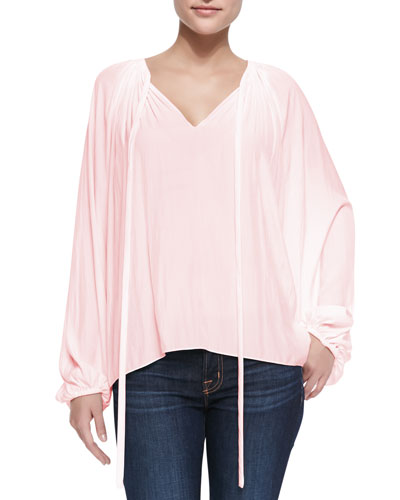 Paris V-Neck Peasant Blouse, Blush