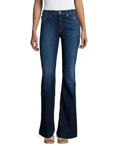 New Ginger High-Waist Flare Jeans, Royal Broken Twill