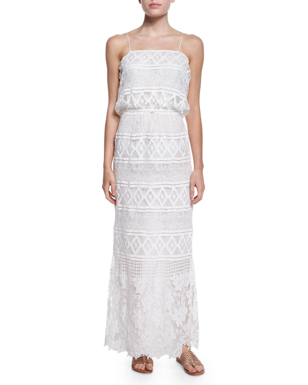 Rylan Geometric-Print Crochet Maxi Dress