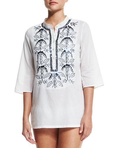 Figue Jasmine Embellished Coverup Tunic
