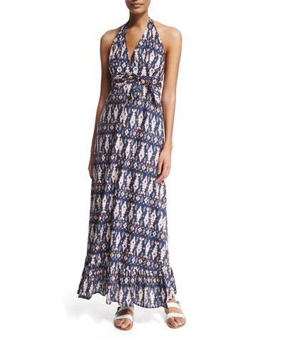 Evie Ikat-Print Halter Maxi Dress