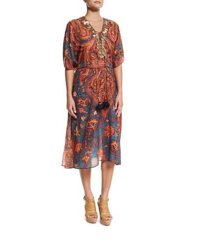 Brianna Embellished-Front Caftan Coverup