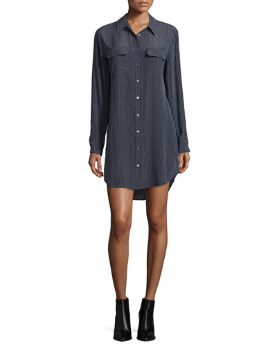 Slim Signature Long-Sleeve Shirtdress, Black/White