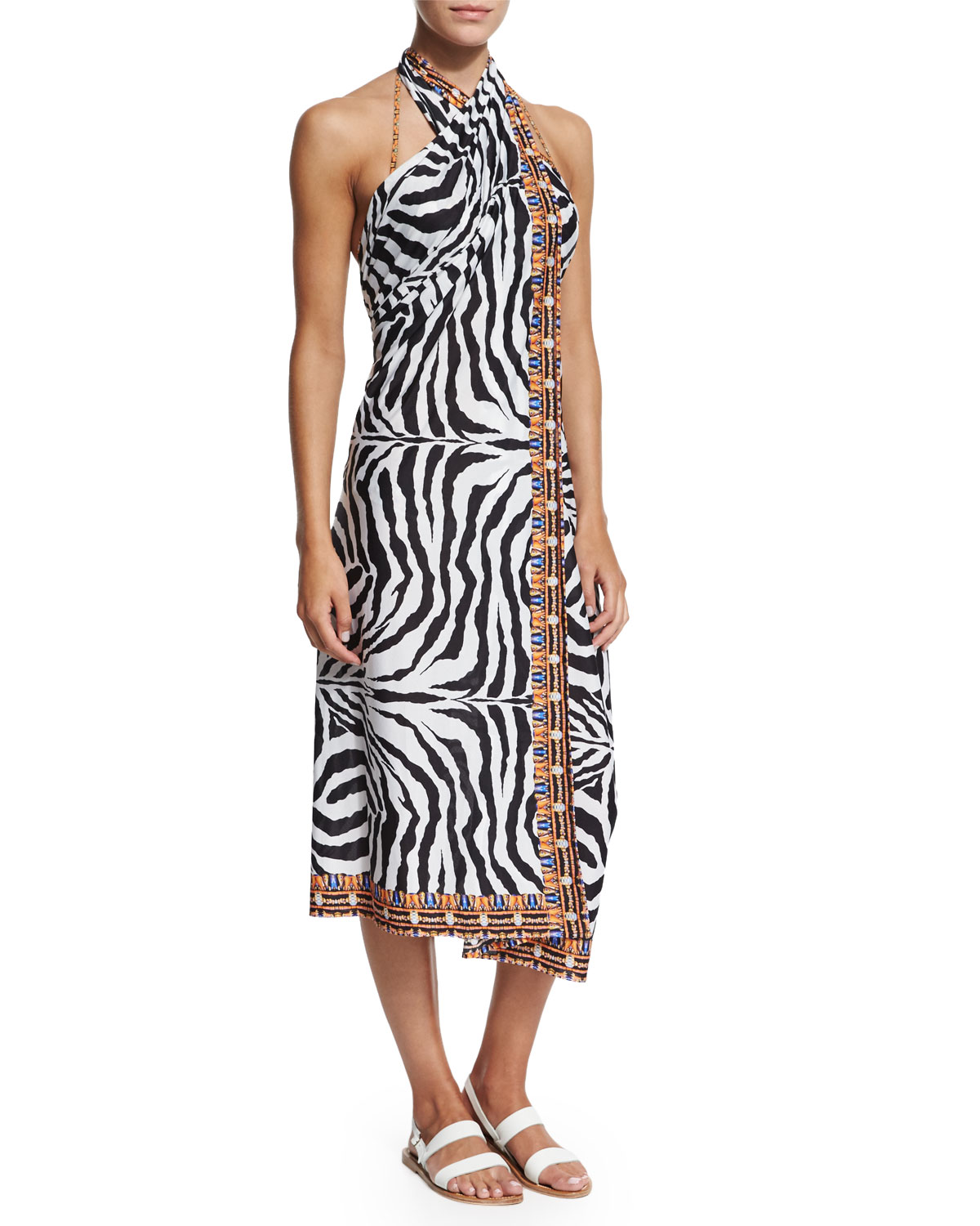 The Fiera Convertible Zebra-Print Sarong Coverup