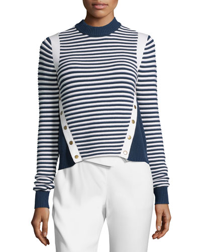 Striped Ottoman Mock-Neck Sweater, Navy/White